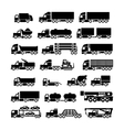 Set icons of trucks trailers and vehicles vector image