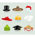 Set of 3d top hats different proffesions vector image vector image