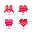 set of cute hearts with ribbons heart vector image vector image