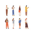 set of people standing and walking with mobile vector image vector image
