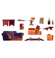set old furniture stored on house attic vector image vector image