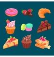 set sweet dessert vector image