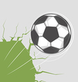 Soccer ball goes through the wall vector image vector image