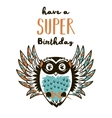 Super Hero owl drawing for greeting card or tee vector image vector image