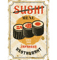 sushi menu japanese cuisine colored bright poster vector image vector image