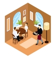 Waiter Service Isometric Composition vector image vector image