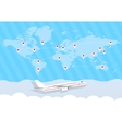 world map and airplane vector image vector image