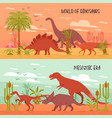 world of dinosaurs banners vector image vector image