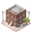 Brick building isometric vector image