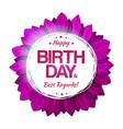 purple birthday floral emblem vector image