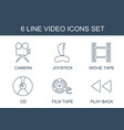 6 video icons vector image vector image