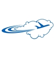Airplane flying through clouds vector image vector image