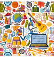 back to school seamless pattern with 3d paper cut vector image vector image