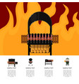 barbecue food poster with meat skewers on grill vector image vector image