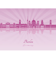 Berlin V2 skyline in purple radiant orchid vector image