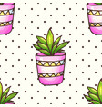 cactus and succulents seamless pattern woth polka vector image vector image