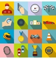 Car racing flat icons vector image vector image