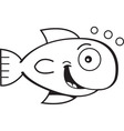 Cartoon smiling goldfish vector image vector image