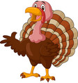 cartoon turkey presenting on white background vector image vector image