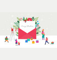 christmas letter coming out envelope blank vector image