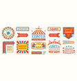 circus labels carnival retro banner signs vector image vector image