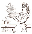 clumsy housewife and overlooked roast chicken vector image vector image