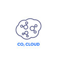 co2 cloud line icon on white vector image