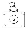 corruption money suitcase icon outline style vector image vector image