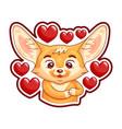 cute enamoured fennec fox presses paws to his vector image vector image