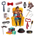 fathers day set vector image vector image