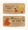 flat autumn sale horizontal banners vector image