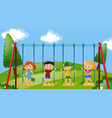four kids on swings in the park vector image vector image