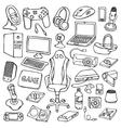 Gamer doodle set vector image vector image