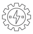 gear with lightning thin line icon ecology energy vector image vector image