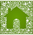 Green house over eco icons background vector image vector image
