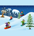 happy kids in warm clothes snowboarding downhill vector image vector image