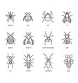 insects icons set isolated editable vector image vector image