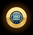 iso 50001 standard medal - energy management vector image vector image