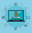 laptop with online security icons vector image vector image
