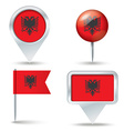 Map pins with flag of Albania vector image vector image