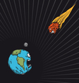 Meteor falls to the Earth vector image