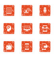 mobile phone technology icons set grunge style vector image vector image