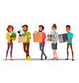 moving relocation colleagues changing office vector image vector image
