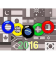 Olympics rings on sepia flags background vector image