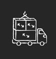 oversized cargo chalk white icon on black vector image