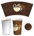 paper cup for hot drink with cup of coffee vector image vector image