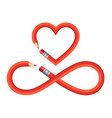 pencil heart and infinity sign set pencil heart vector image vector image