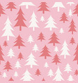 pink and white christmas trees seamless pattern vector image