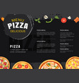pizza menu template for restaurant and cafe vector image