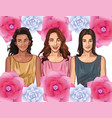 pop art beautiful women smiling cartoon card vector image vector image